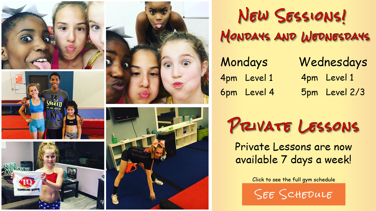 New sessions on Mondays and Wednesdays